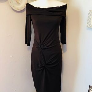 Laundry By Shelli Segal Brown Off the Shoulder